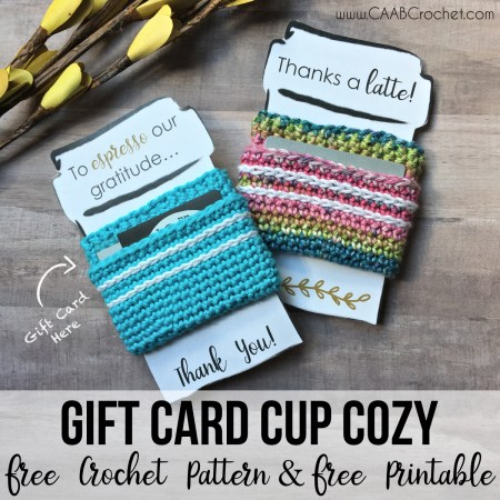 Gift Card Cup Cozy Free Crochet Pattern And Printable Great