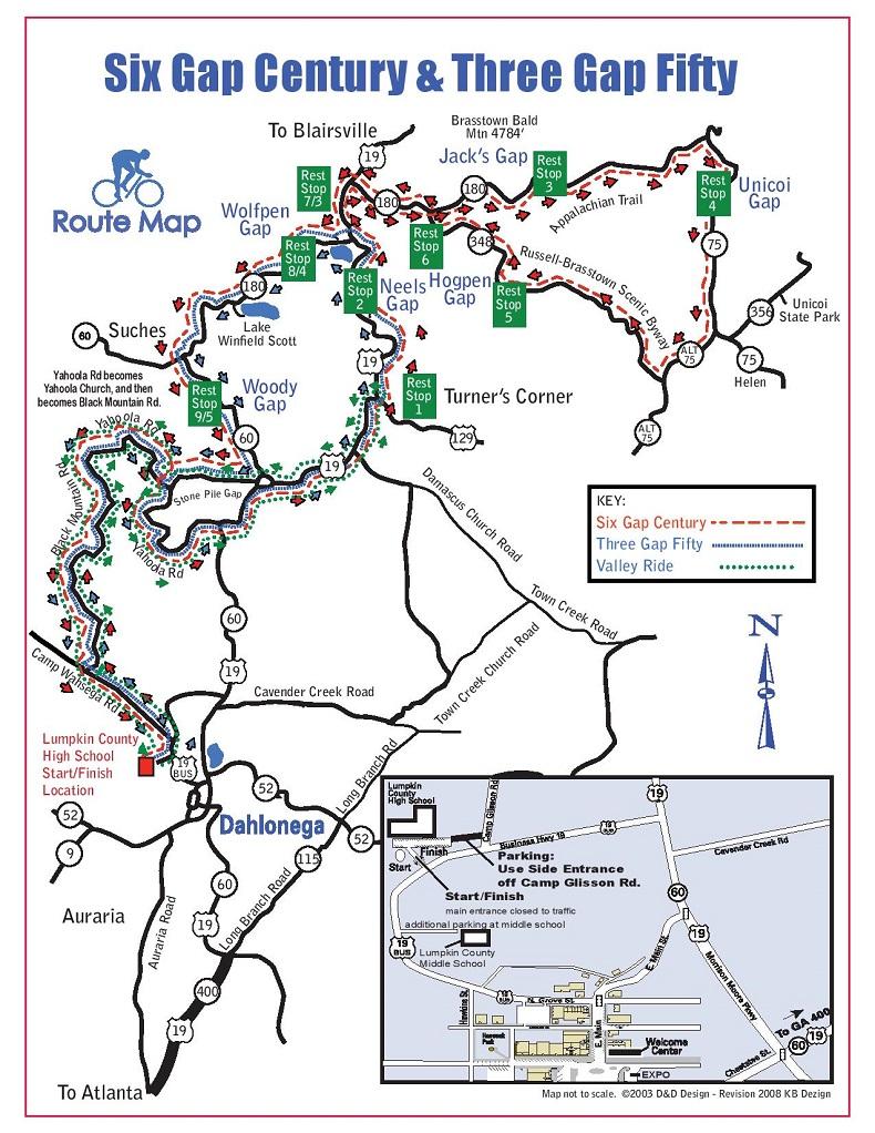 SixGapRouteMapjpg - Georgia map dahlonega