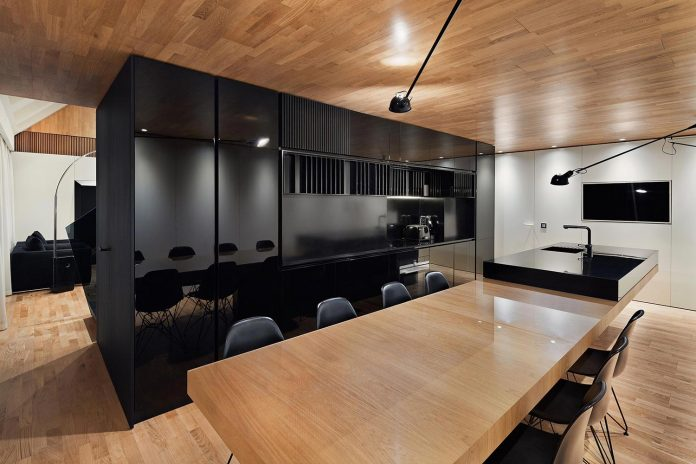 Modern City Loft That Combine Black White And Natural Wood Designed By Studio Mode In Sofia