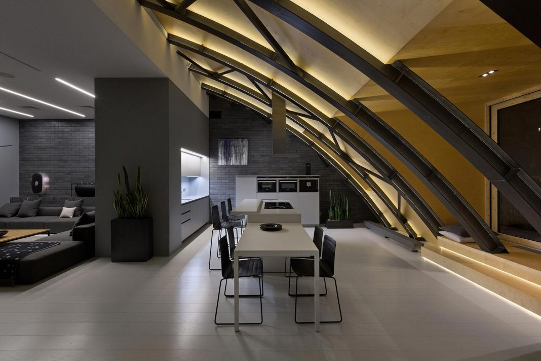 Modern High Lounge In Kiev With A Beautiful Arc Ceiling By Alex Obraztsov