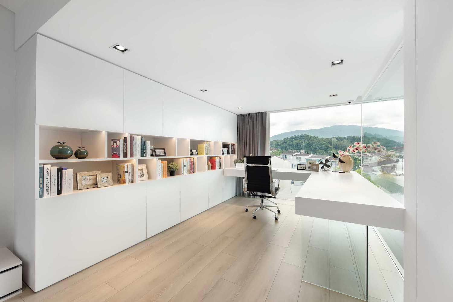 Contemporary White Walls With Light Wooden Flooring Make
