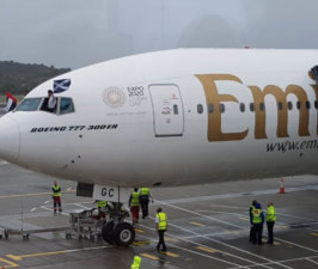 Emirates Was Welcomed With A Water Cannon Salute As It Parked Up And Was Given A Full Scottish Welcome As Bag Pipe Players Welcomed Passengers