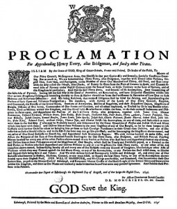 British proclamation for the arrest and capture of Henry Every.