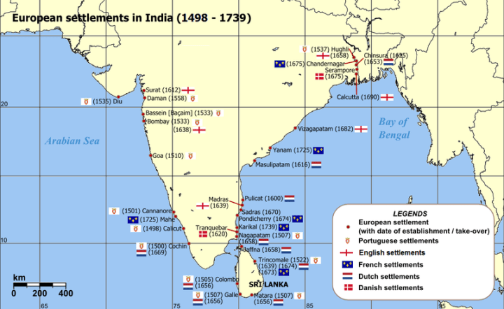 The British are one of the many European nations who have set up trading posts in coastal areas. Note that this map only shows European settlements. Whereas other Asian and Middle Eastern countries also had trading posts and settlements.