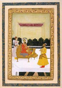 Mughal Emperor Farrukhsiyar with Hussain Ali Khan Barha (on the right).
