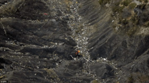 """This is supposed to be the wreckage of Germanwings Flight 9525. To quote nodisinfo.com, """"The wreckage is seen not spread in the expected pattern, that is throughout the mountain slopes and is, instead, concentrated in the crevices or valleys. These are areas which could be easily trekked by staging moles."""""""