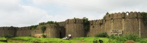 The Nizam's fortress at Kharda, where the Marathas had him and his family besieged.