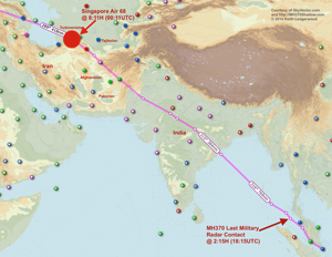 SIA68 proceeded across the Andaman Sea, the Bay of Bengal, India, Pakistan, Afghanistan, Turkmenistan, Turkey and then to Europe. If MH370 was shadowing it, after 7.5 hours of flight time, MH370 would be in Turkmenistan, or somewhere at the northern border of Iran.