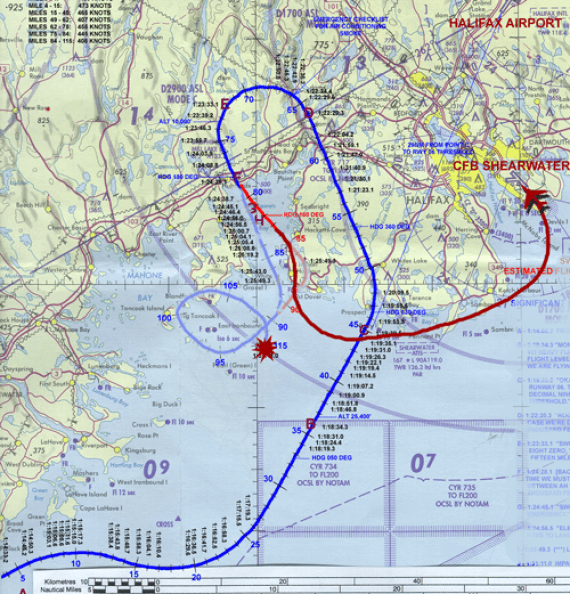 If we go by Harry Publicover's account that the plane was headed towards Peggy's Cove , if we assume that the fire and the power failure was a myth, if we assume that the witness accounts at Blandsford are questionable and if we unwind the crazy doughnut, we end up at CFB Shearwater.