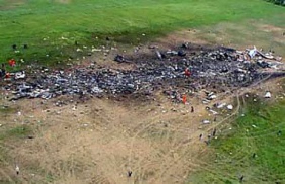 """This was exactly what happened to UAL Flight 93 on September 11th 2001. To quote, """"Jon Meyer, the first reporter on the scene, said he was """"able to get right up to the edge of the crater"""" where Flight 93 supposedly hit the ground. However, he described: """"All I saw was a crater filled with small, charred plane parts. Nothing that would even tell you that it was the plane. ... There were no suitcases, no recognizable plane parts, no body parts."""" [9] Local coroner Wallace Miller, who was also one of the first people to arrive, said the crater looked """"like someone took a scrap truck, dug a 10-foot ditch, and dumped all this trash into it."""" """""""