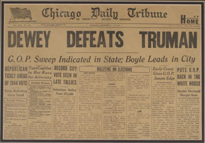 Back then. not all American mainstream media was controlled. One newspaper even went ahead to logically proclaim Dewey's victory over Truman. They were unaware of the ballot box stuffing though. This rare instance of truthful journalism was later paraded in history texts as a case of sensational journalism.
