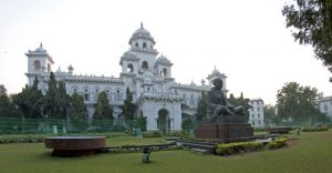 Hyderabad Legislative Assembly, now with Gandhi statue.