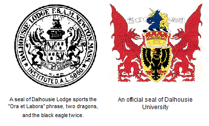 Dalhousie University's coat of arms bears an uncomfortable resemblance with a Masonic lodge called the Dalhousie Lodge.