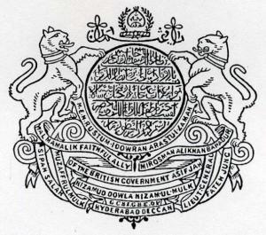 Arms: The name and titles of the Nizam in arabic. Crest: The motto alazmat ulla in arabic and the royal turban within a garland. Supporters: Two tigers collared. Motto: 1. h.e.m. rustum idowran arastui zaman. 2. sipah salar muzaffulmulk walmamalik faithful ally of the british govern- ment asif jah mir osman ali khan bahadur lieut. general fateh jung. 3. nizamud dowla nizam ul mulk 4. hyderabad deccan In between 3 and 4: g c s i g b e o v.