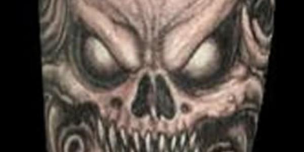 Tattoo of Baphomet-human skull hybrid