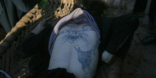 Satanist tattoo on Taliban fighter