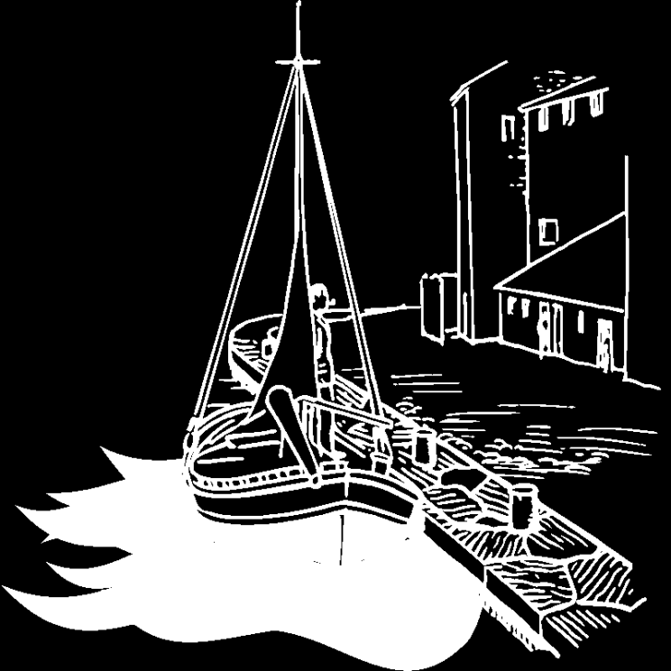 Boat in harbor illustration