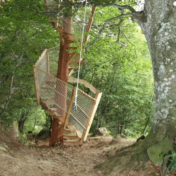 Cabane dans les arbres Cantal escalier