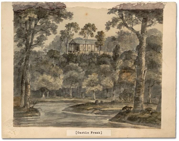 Castle Frank. Watercolour by Elizabeth Simcoe