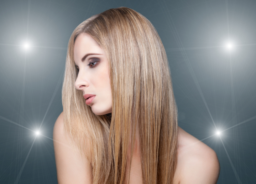 Beautiful young woman with straigth hair