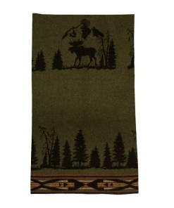 Moose Hunter Green Blanket
