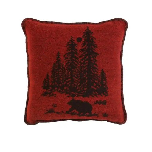 Wooded Bear Red Cabin Pillow