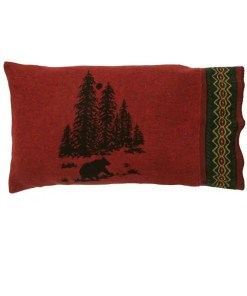wooded bear bed sham