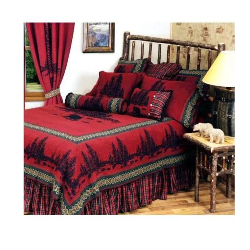 Wooded Bear Cabin Bedspread