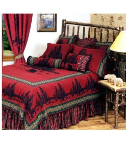 Wooded Bear Cabin Bedspread