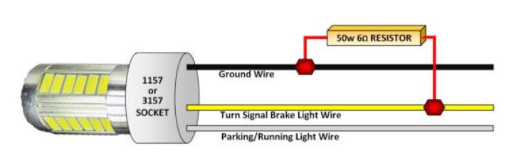 3157 socket wiring diagram 50 watt 6 ohm resistor kit for led taillights     cabin bright  50 watt 6 ohm resistor kit for led
