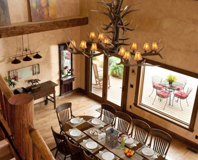 elegant wooden dining area for large groups with a wonderful view best hotel in msrion