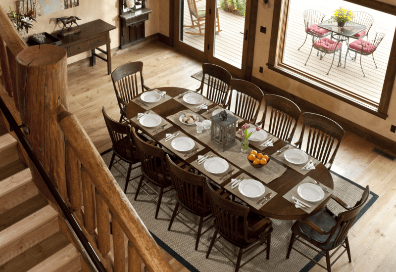 Cabin Creek Landing FAQs elegant wooden dining area for large groups with a wonderful view weddings & events wedding venue