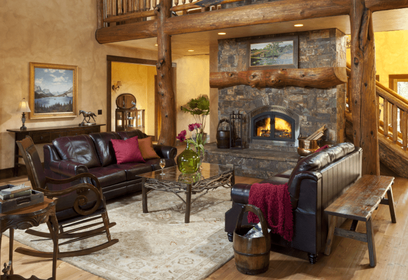 large elegant and rustic common area with beautiful fire place wedding services
