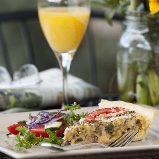 Cabin Creek Landing FAQs delicious cuisine healthy breakfast pie with orange juice wedding and event wedding services