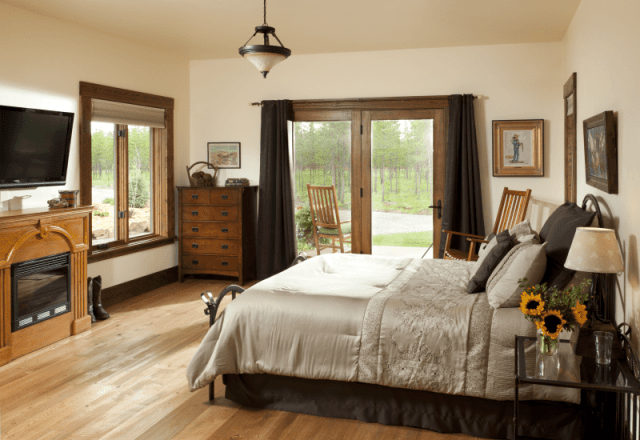 Cabin Creek Landing FAQs rooms gallery B&B Rooms In Montana Twin Falls Room with electric wooden fireplace