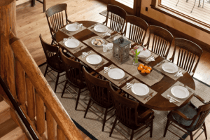 elegant wooden dining area for large groups with a wonderful view