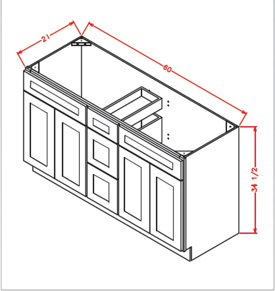 vsdb60 vanity double sink base cabinet 60 inch tacoma dusk