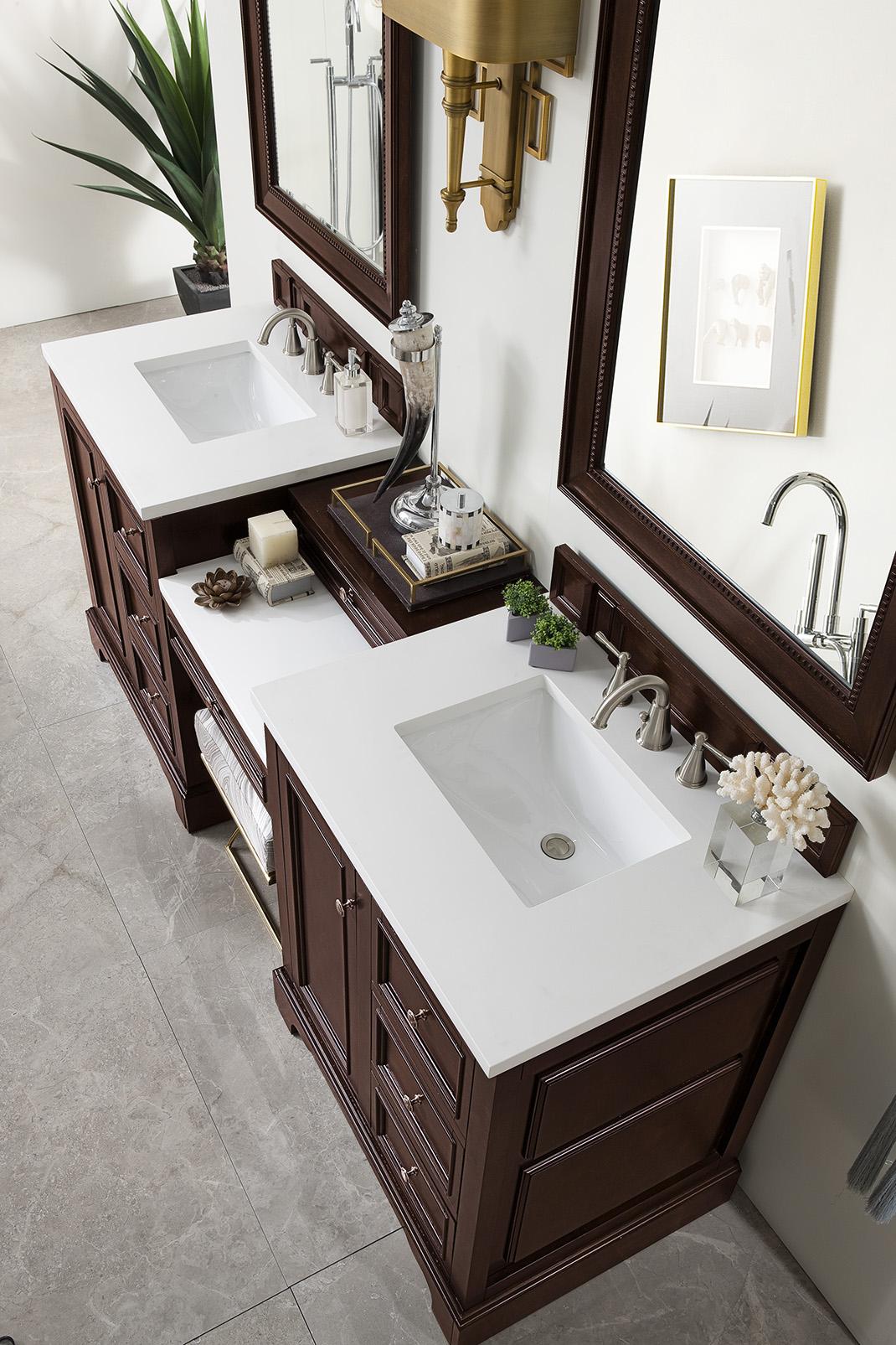 de soto 82 double vanity set burnished mahogany with makeup table 3 cm snow white quartz top