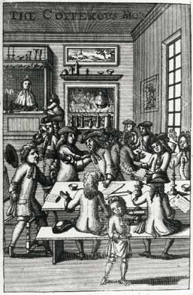 The coffee house in 1700s London became a popular place to meet and discuss what everyone had read. It was also the place where the newspaper became first popularly distributed.