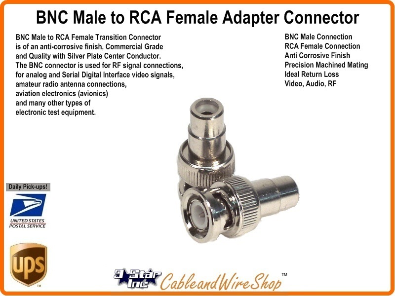 Bnc Male To Rca Female Adaptor Coupler Connector