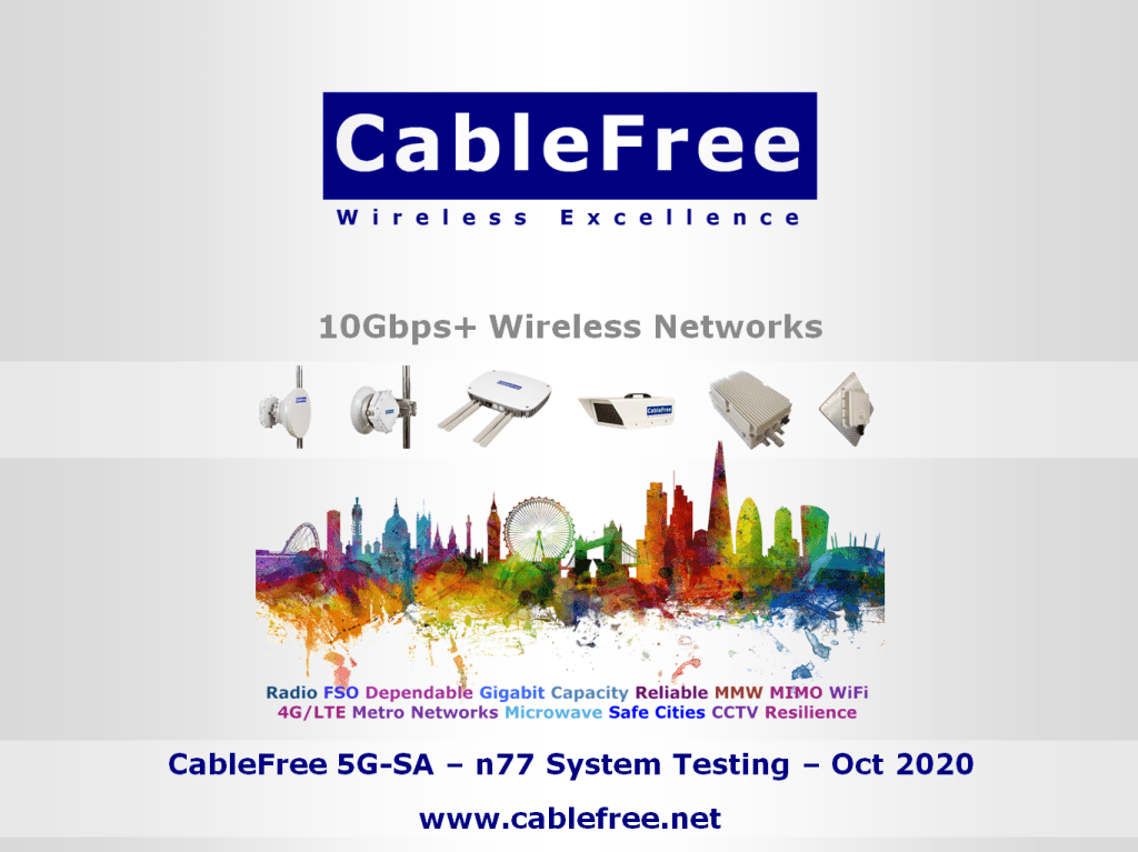 CableFree 5G-SA n77 Base Station gNodeB to CPE Test