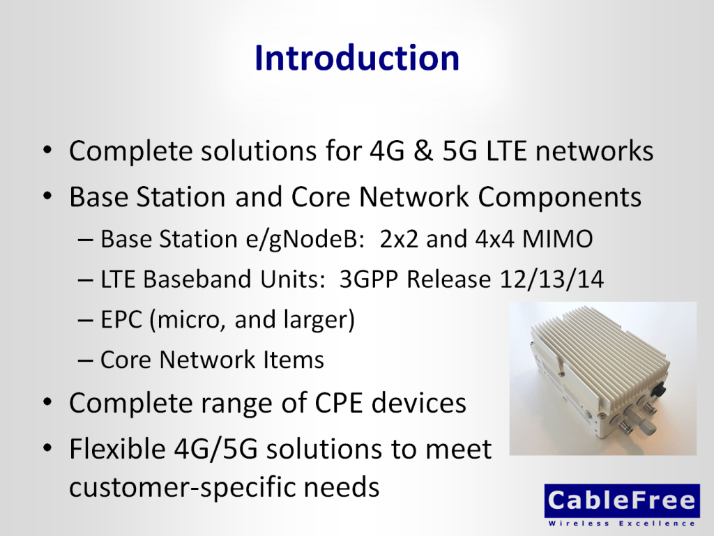 CableFree 4G and 5G Base Station gNodeB and CPE Product Range