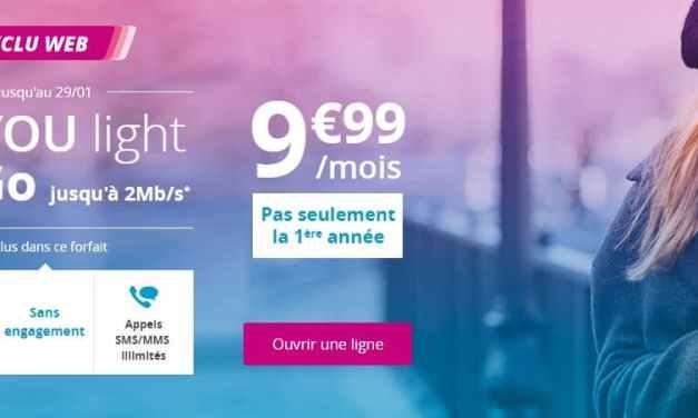 Bouygues relance le forfait B&You Light 30Go à 9.99€/mois jusqu'au 29 janvier