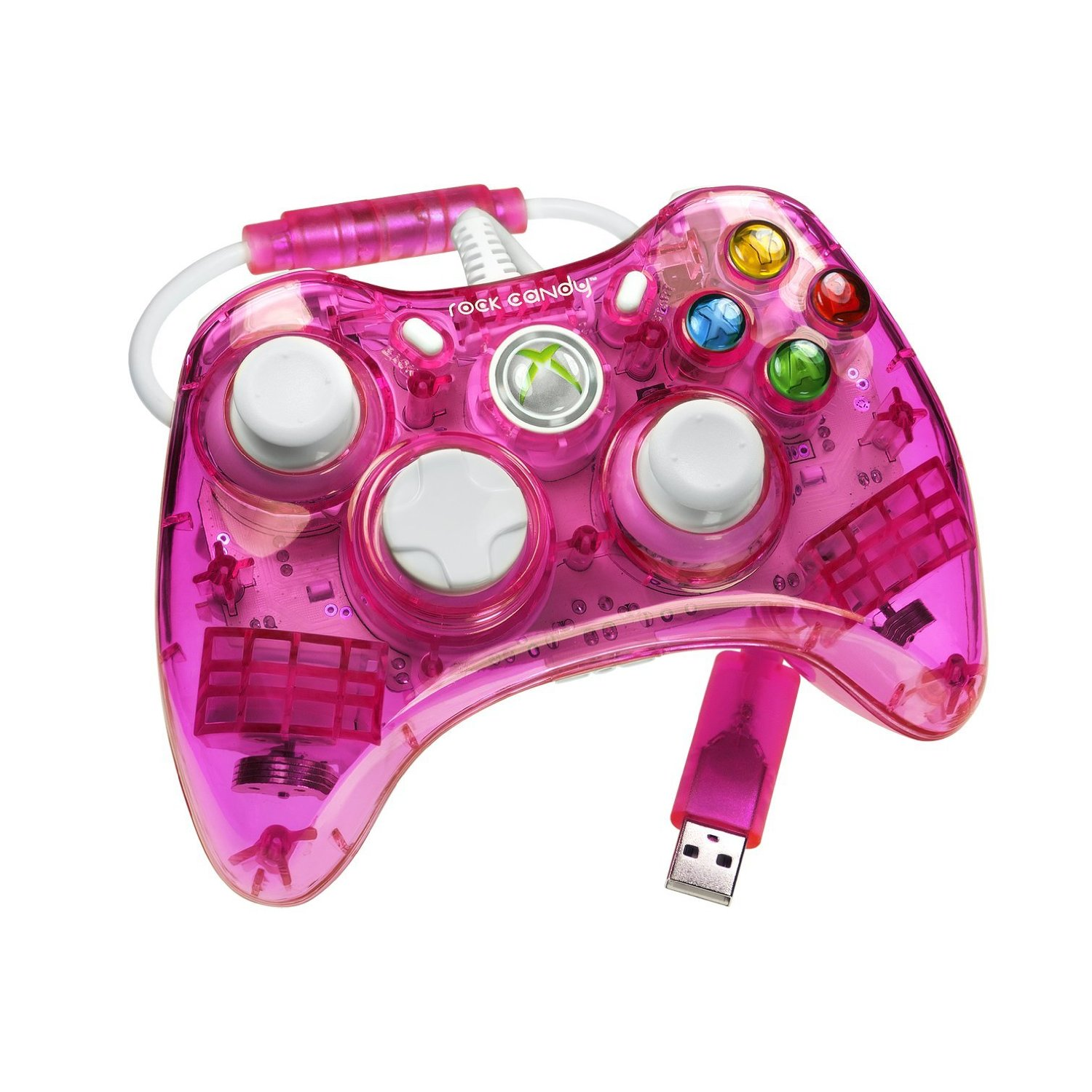 Rock Candy Pink XBOX 360 Wired Controller Neon Pink XBOX Gaming Accessory Cables4all
