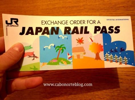 El bono Japan Rail Pass que hay que canjear al llegar a Japón