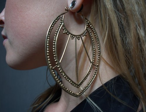 Granulated Extra Large Earrings In Bronze3