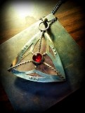 1-Lavender Quartz and Tourmaline Triangle Pendant 09