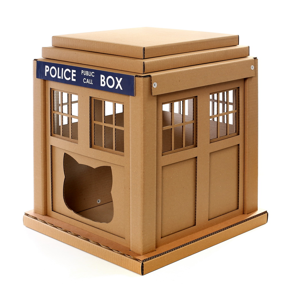 Dr  Who Tardis Cat House     entering into an alternative world     Dr Who Tardis Cardboard Cat House front left     entering into an  alternative world