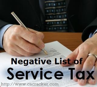 negative list of Service-Tax