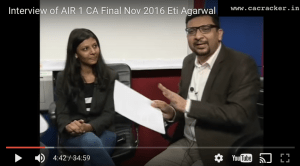 CA Final AIR 1 Eti Agarwal Intervew with CA Praveen Sharma